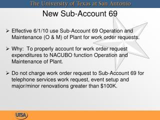 New Sub-Account 69