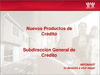 Nuevos Productos de Cr dito   Subdirecci n General de Cr dito
