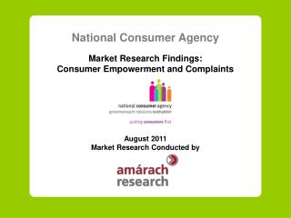 National Consumer Agency Market Research Findings: Consumer Empowerment and Complaints