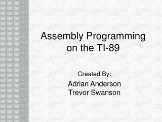 Assembly Programming on the TI-89