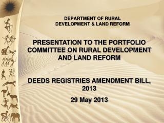 DEPARTMENT OF RURAL DEVELOPMENT & LAND REFORM