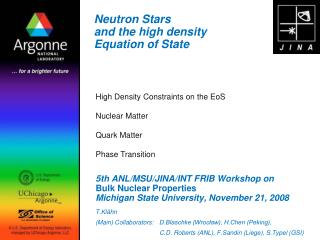 Neutron Stars  and the high density  Equation of State