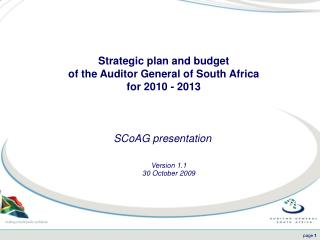 Strategic plan and budget  of the Auditor General of South Africa  for 2010 - 2013