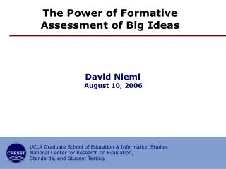 The Power of Formative Assessment of Big Ideas