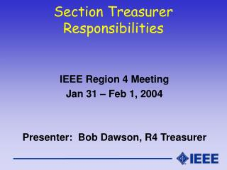 Section Treasurer Responsibilities