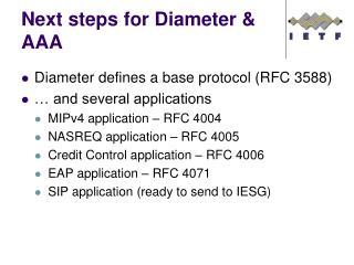 Next steps for Diameter & AAA