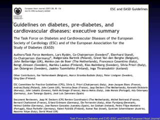 Task Force on Diabetes and CVD (ESC and EASD) European Heart Journal 2007;28:88-136