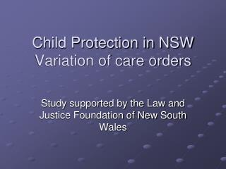 Child Protection in NSW Variation of care orders