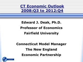 CT Economic Outlook 2008:Q3 to 2012:Q4