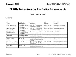 60 GHz Transmission and Reflection Measurements