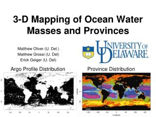3-D Mapping of Ocean Water Masses and Provinces