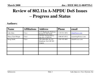 Review of 802.11n A-MPDU DoS Issues  – Progress and Status
