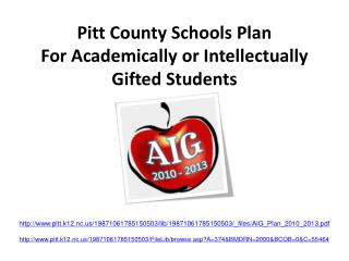 Pitt County Schools Plan For Academically or Intellectually Gifted Students