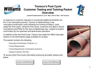 Transco's Post Cycle Customer Testing and Training Packet Overview