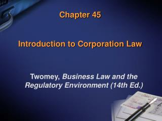 Chapter 45 Introduction to Corporation Law