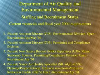 Department of Air Quality and Environmental Management Staffing and Recruitment Status