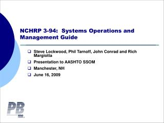 NCHRP 3-94:  Systems Operations and Management Guide
