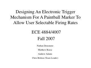 ECE 4884/4007 Fall 2007