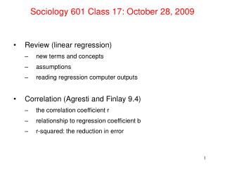 Sociology 601 Class 17: October 28, 2009