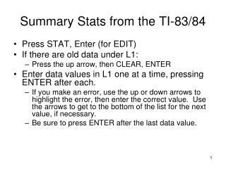 Summary Stats from the TI-83/84