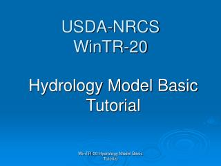 USDA-NRCS  WinTR-20