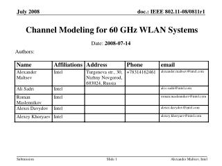 Channel Modeling for 60 GHz WLAN Systems