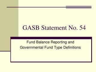 GASB Statement No. 54