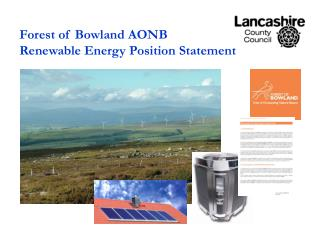 Forest of Bowland AONB Renewable Energy Position Statement