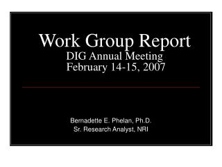 Work Group Report DIG Annual Meeting  February 14-15, 2007