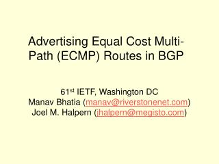 Advertising Equal Cost Multi-Path (ECMP) Routes in BGP