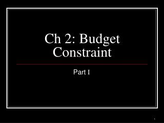 Ch 2: Budget Constraint