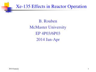 Xe-135 Effects in Reactor Operation