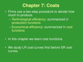 Chapter 7: Costs