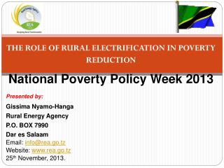 THE ROLE OF RURAL ELECTRIFICATION IN POVERTY REDUCTION