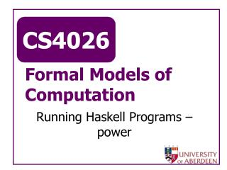 Formal Models of Computation