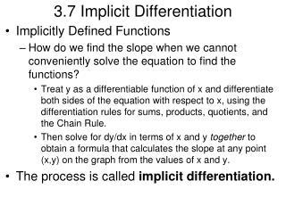 3.7 Implicit Differentiation