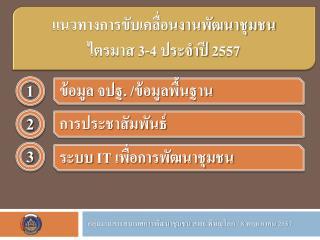 แนวทางการขับเคลื่อนงานพัฒนาชุมชน ไตรมาส 3-4  ประจำปี  2557