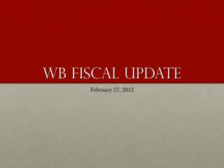 Wb Fiscal update