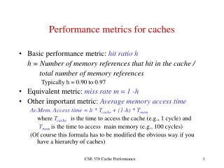 Performance metrics for caches
