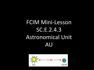 FCIM Mini-Lesson SC.E.2.4.3 Astronomical Unit AU