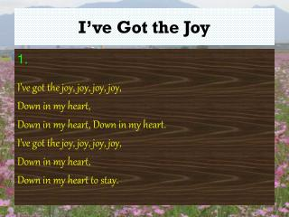 I�ve Got the Joy