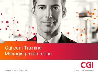 Cgi  Training Managing main menu