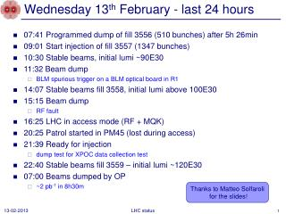 Wednesday 13 th  February - last  24 hours