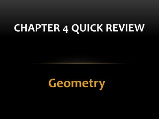 Chapter 4 Quick Review