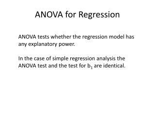 ANOVA for Regression