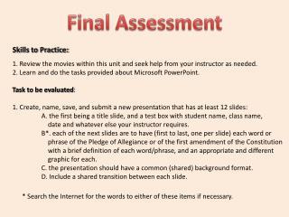 Skills to Practice: