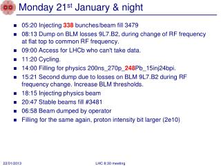 Monday 21 st January & night