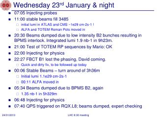 Wednesday 23 rd  January & night