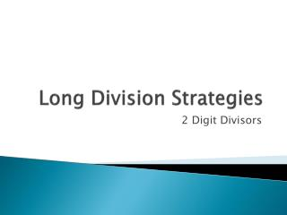 Long Division Strategies