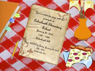 You're invited for pizza with the  principals at Lakenheath Elementary School